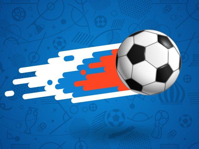 Flying soccer ball on blue background vector illustration